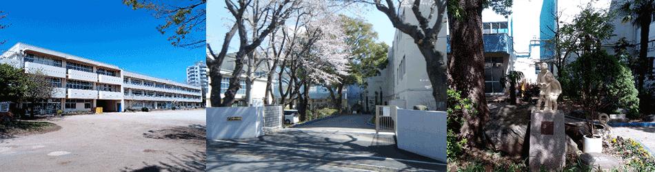 村上小学校 正門からの風景