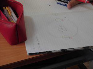 ノートに天体の図を書いている人がいました。