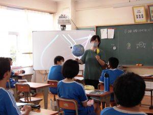 地球儀と月などを使って日食の説明をしています。