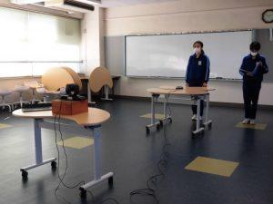 全校集会をWebで行いました。ICT教室から生放送です。